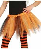 Heksen verkleed petticoat tutu oranje zwart glitters meisje