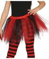 Heksen verkleed petticoat tutu zwart rood glitters meisjes