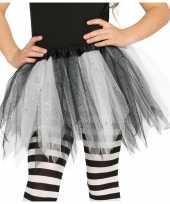 Heksen verkleed petticoat tutu zwart wit glitters meisjes