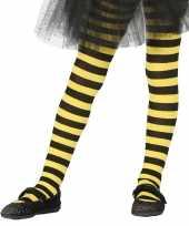 Heksen verkleedaccessoires panty maillot zwart geel meisjes