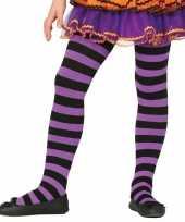 Heksen verkleedaccessoires panty maillot zwart paars meisje