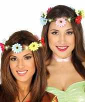 Hippie flower power verkleed bloemen hoofd krans dames