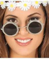 Hippie flower power verkleed zonnebril ronde glazen