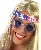 Hippie verkleed bril blauwe glazen volwassenen
