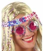 Hippie verkleed bril roze glazen volwassenen
