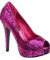 Hoge roze peep toe glitter hakken