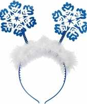 Kerst diadeems blauwe sneeuwvlokken