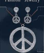Ketting oorbellen peace