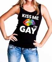 Kiss me i am gay tanktop mouwloos shirt zwart dames
