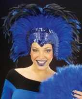 Luxe blauwe veren tooi dames