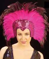 Luxe roze veren tooi dames
