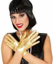 Metallic gouden verkleed handschoenen kort
