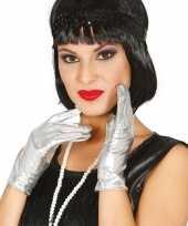 Metallic zilveren verkleed handschoenen kort