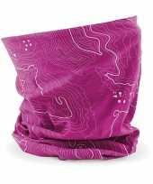 Multifunctionele morf sjaal roze contour print volwassen