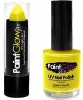 Neon gele uv lippenstift lipstick nagellak schmink set