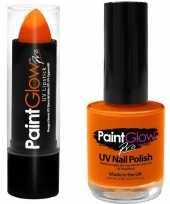 Neon oranje uv lippenstift lipstick nagellak schmink set