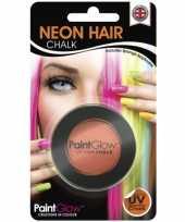 Oranje glow the dark haarkrijt