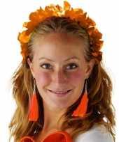 Oranje hawaiikrans verkleed tiara hoofdband dames