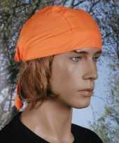 Oranje hoofddeksel bandana uni