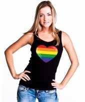 Regenboog vlag hart singlet zwart dames