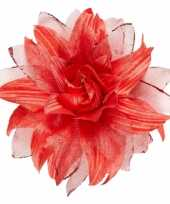 Rode bloem haarversiering glitters