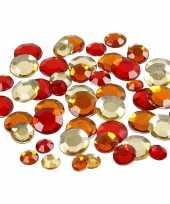 Ronde glinster steentjes assorti rood