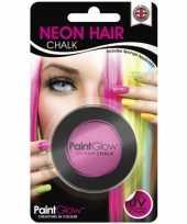 Roze glow the dark haarkrijt