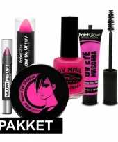 Roze uv make up carnavalskledingket