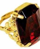 Sinterklaas verkleed ring goud rood rechthoekig heren