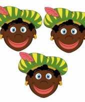Sinterklaas zwarte pieten maskers setje stuks 10096305