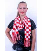 Sjaal rood wit geblokt