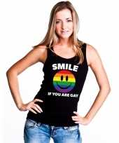 Smile if you are gay emoticon tanktop singlet-shirt zwart dames