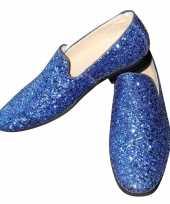 Toppers blauwe glitter pailletten disco instap schoenen heren
