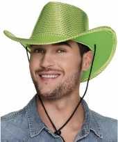 Toppers groene cowboyhoed howdy pailletten volwassenen