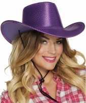Toppers paarse cowboyhoed howdy pailletten volwassenen