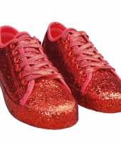 Toppers rode glitter disco sneakers schoenen dames