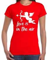 Valentijn cupido love is the air t-shirt rood dames