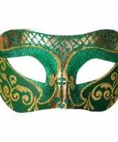 Venetiaanse maskers colombina groen goud glitters