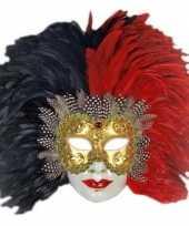 Venetiaanse maskers rood zwarte veren