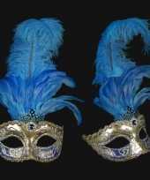 Venetiaanse oogmaskers blauwe veren