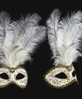 Venetiaanse oogmaskers witte veren