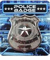 Zilveren politie badge verkleed accessoire