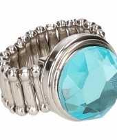 Zilveren ring blauwe diamant drukknoop