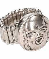 Zilveren ring boeddha drukknoop
