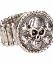 Zilveren ring doodshoofd drukknoop