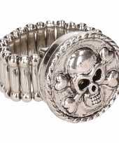 Zilveren ring doodskop drukknoop