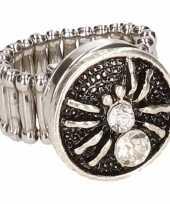 Zilveren ring rode spin drukknoop 10086206
