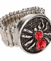 Zilveren ring rode spin drukknoop
