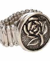 Zilveren ring roos drukknoop