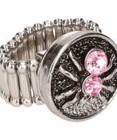 Zilveren ring roze spin drukknoop